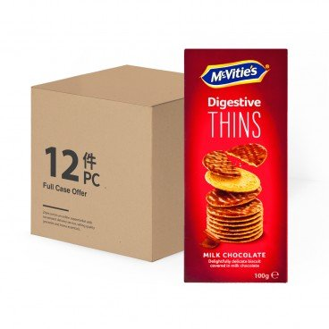 MCVITIE'S Case Offer thins Milk Chocolate 100GX12