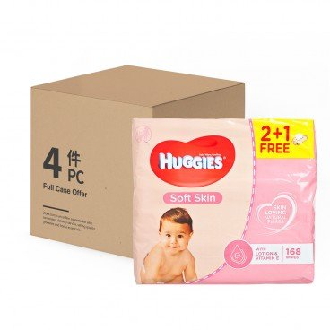 HUGGIES(PARALLEL IMPORT) - Soft Skin Wipes Triple 2 1 case - 56'SX3X4