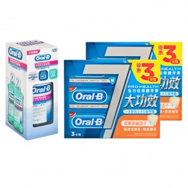 ORAL B - Pro health Enamel Protection strong Mint Tooth Paste T g Rinse A f Bundle - 120GX6+500MLX2