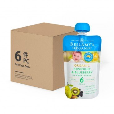BELLAMY'S ORGANIC - Organic Kiwifruit Blueberry In Pear Puree Case - 120GX6