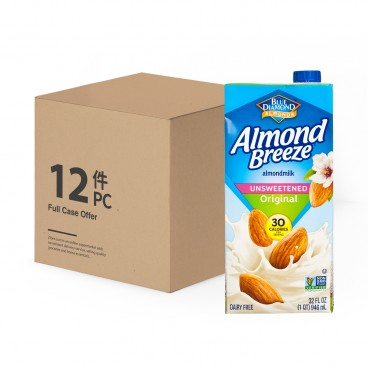 BLUE DIAMOND(PARALLEL IMPORT) - Almond Breeze Unsweetened original case Offer - 946MLX12