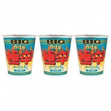 NISSIN - Big Cup Noodle extra Spicy Seafood - 100GX3