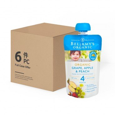 BELLAMY'S ORGANIC - Organic Grape Apple Peach Case Offer - 120GX6