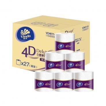 VINDA 4 d deluxe Toilet Roll 4 ply full Case Single Roll 27'S