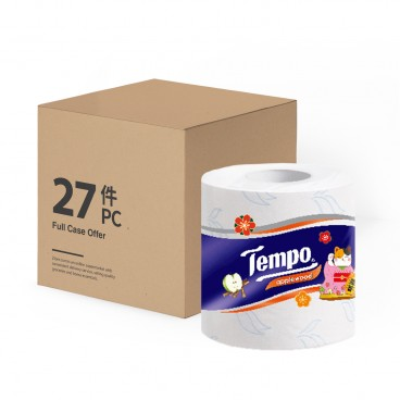 TEMPO - Printed Bathroom Tissue 3 ply Applewood Full Case Single Roll 2021 New Year Limited Edition - 27'S