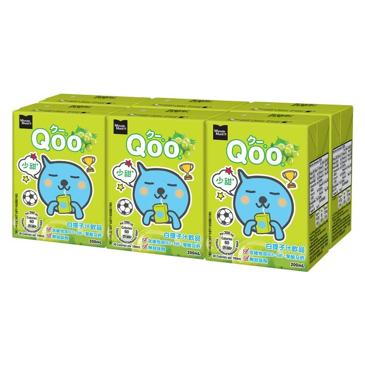 MINUTE MAID QOO - WHITE GRAPE JUICE DRINK - 200MLX6