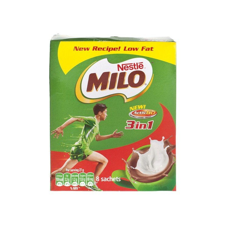 MILO - 3 IN 1 NUTRITIOUS MALT DRINK - 27GX8