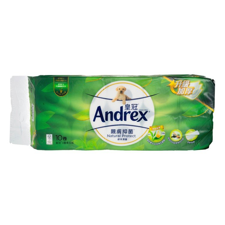 ANDREX - PRINTED & SCENTED BATHROOM TISSUE 3 PLY-GREENTEA - 10'S