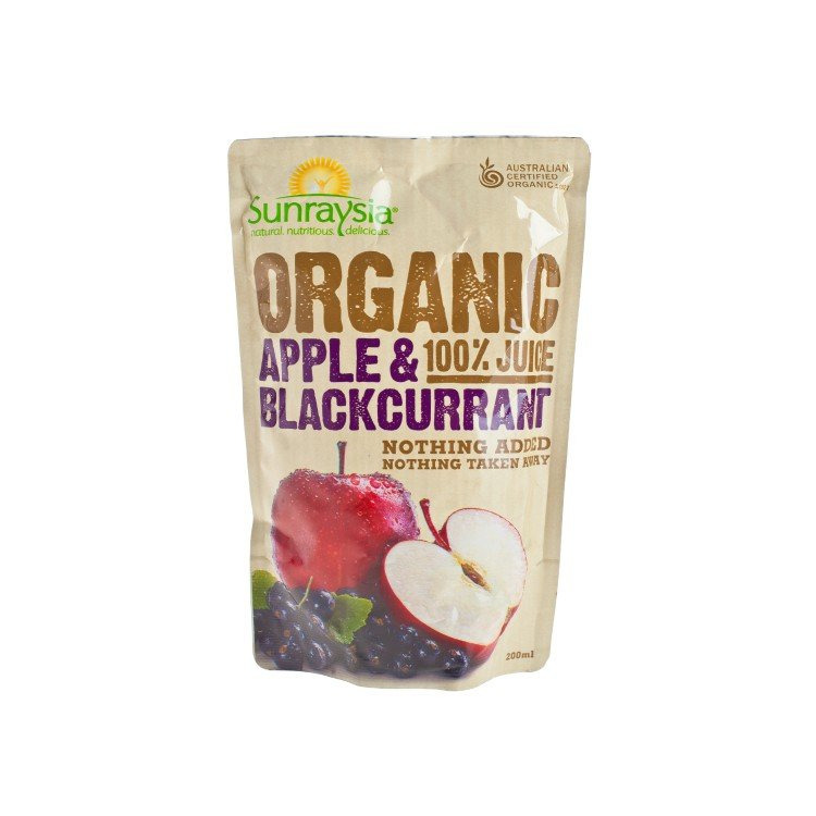SUNRAYSIA - ORGANIC APPLE & BLACKCURRANT JUICE - 200ML