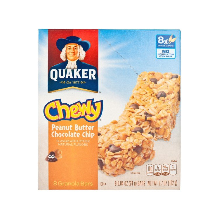QUAKER - CHEWY BAR-PEANUT BUTTER & CHOCOLATE CHIPS - 24GX8