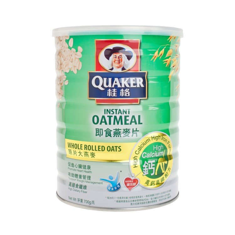 QUAKER - INSTANT WHOLE ROLLED OATS-HIGH CALCIUM & HIGH IRON - 700G