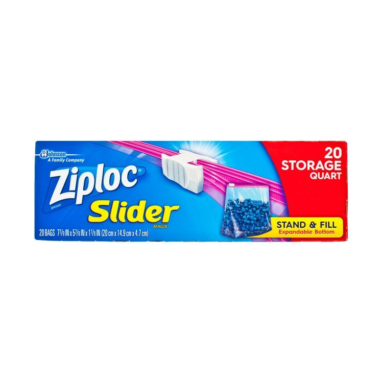 ZIPLOC - EASY ZIPPER STORAGE BAG-QUART - 20'S