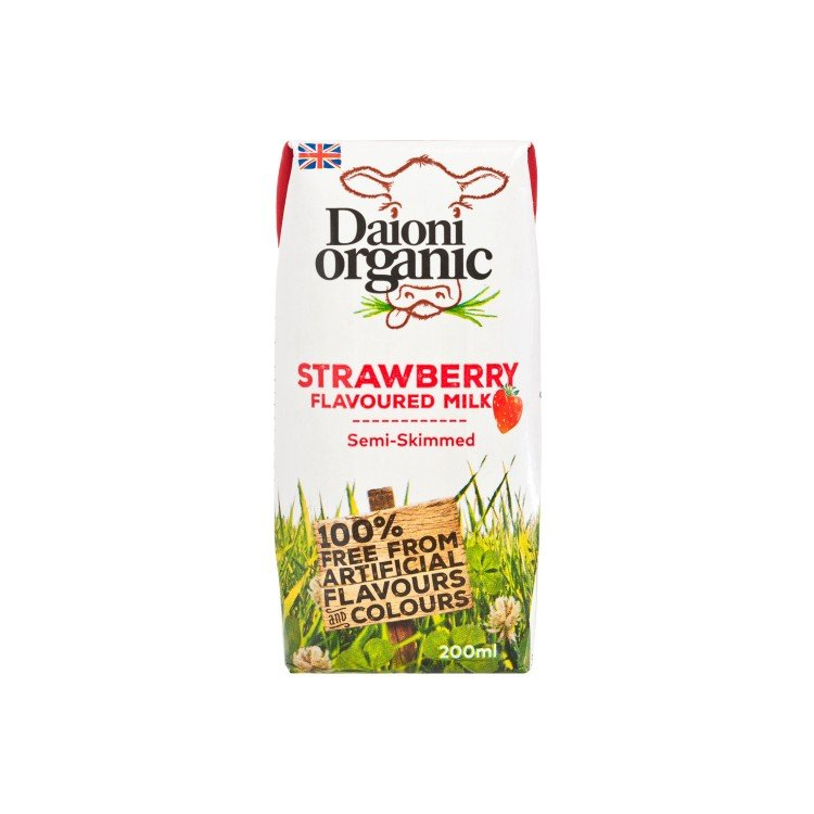 DAIONI ORGANIC - ORGANIC SEMI-SKIMMED MILK-STRAWBERRY - 200ML