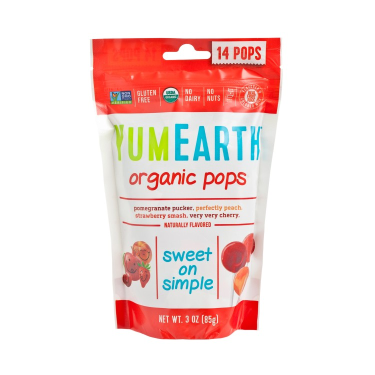 YUMEARTH ORGANICS - ORGANIC LOLLIPOPS-ASSORTED FRUIT FLAVORED - 14'S