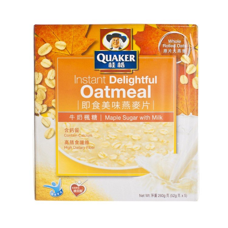 QUAKER - INSTANT WHOLE ROLLED OATS-MAPLE SUGAR WITH MILK - 52GX5