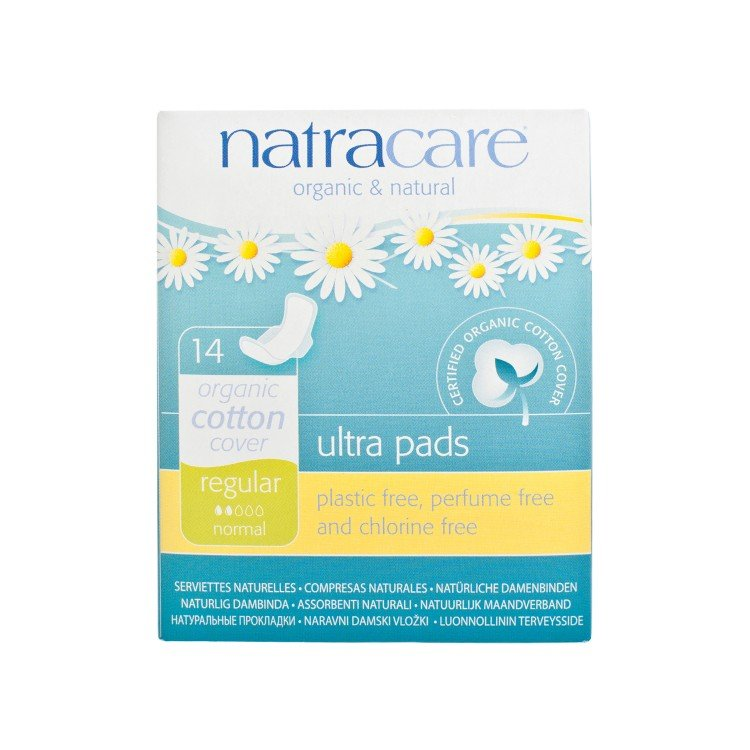 NATRACARE - ULTRA PADS WITH WINGS-REGULAR 22CM (INDIVIDUALLY WRAPPED) - 14'S