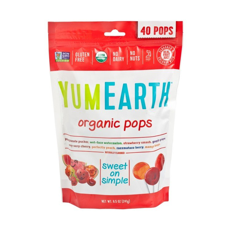 YUMEARTH ORGANICS - ORGANIC  LOLLIPOPS-ASSORTED FRUIT FLAVORED - 40'S