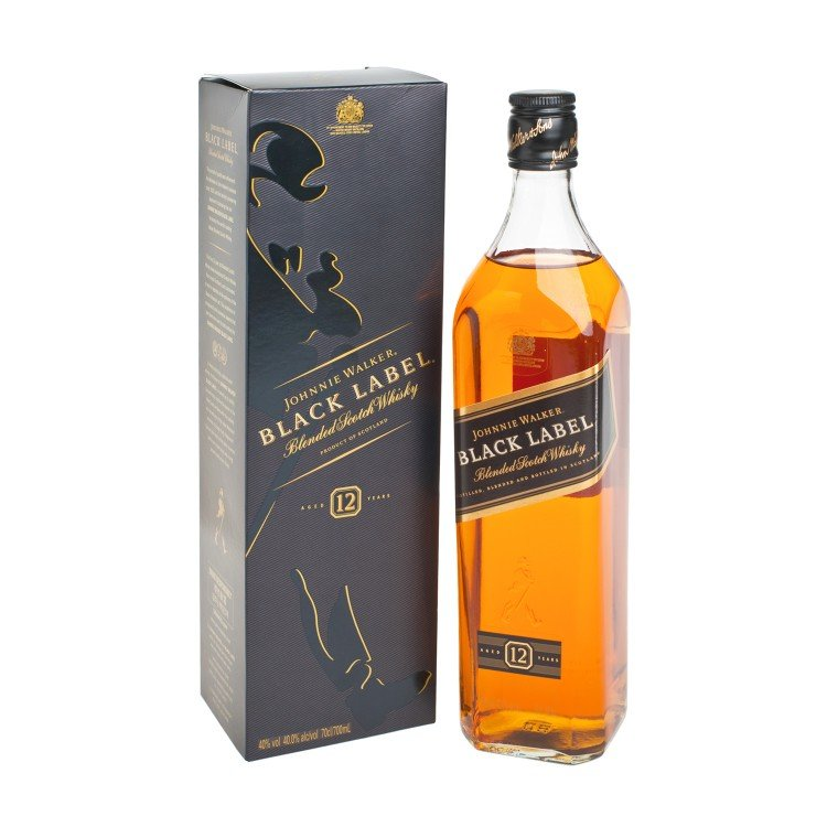 JOHNNIE WALKER - BLACK LABEL WHISKY-12 YEARS - 70CL