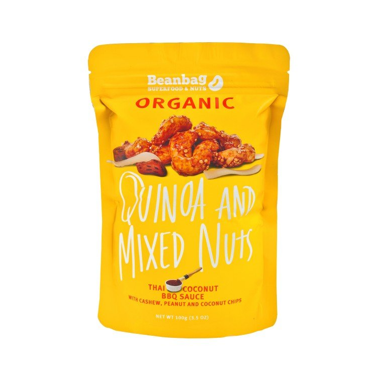 BEANBAG - QUINOA AND MIXED NUTS WITH THAI COCONUT BBQ SAUCE - 100G