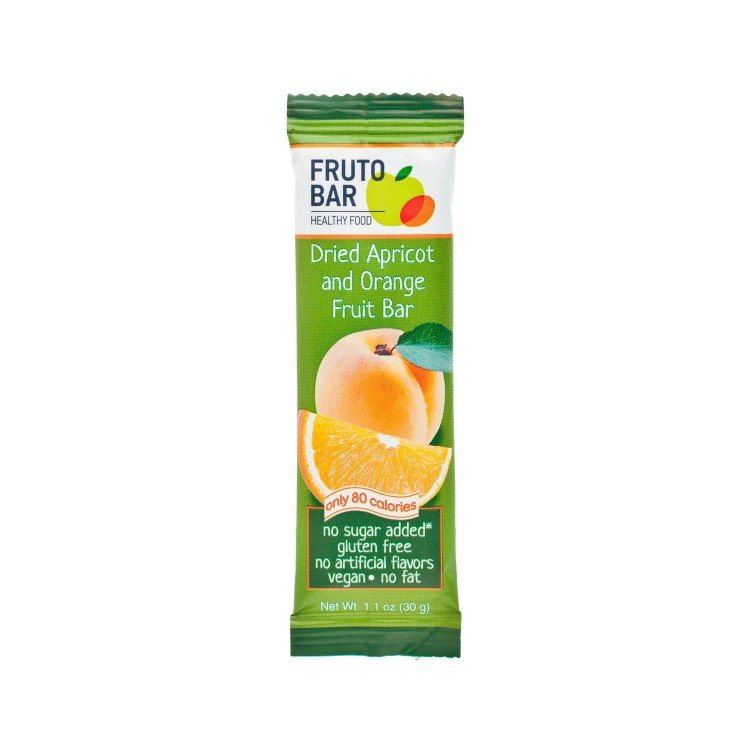 FRUTO BAR - DRIED APRICOT AND ORANGE FRUIT BAR - 30G