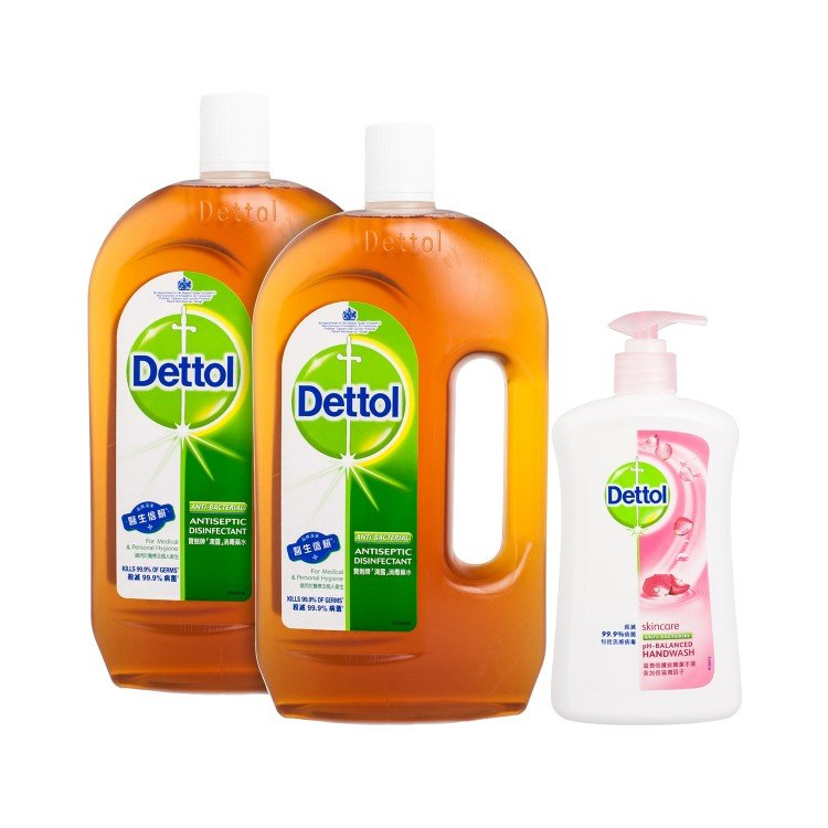 DETTOL - ANTISEPTIC LIQUID(TWIN PACK) WITH HAND WASH SKINCARE - 1.2LX2+500G