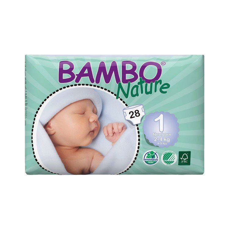 BAMBO NATURE - ECO FRIENDLY BABY DIAPERS-NEW BORN SIZE 1 - 28'S