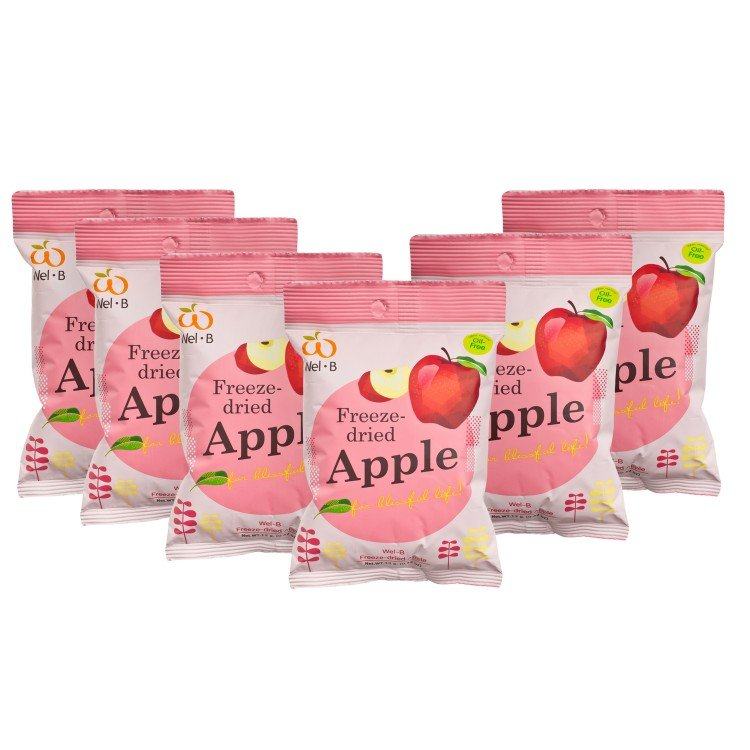 WEL-B - 100% NATURAL FREEZE DRIED APPLE-BONUS PACK - 12GX6