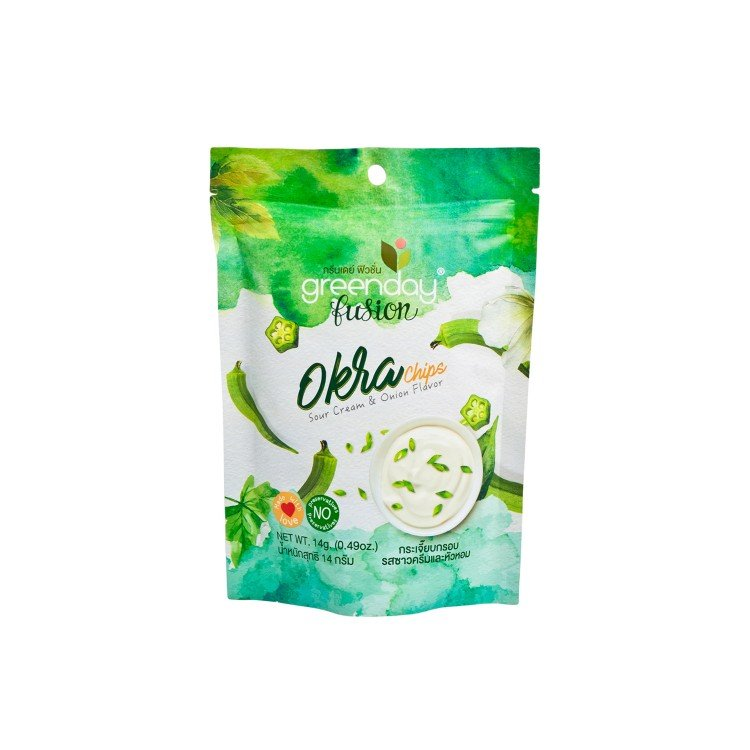 GREENDAY - OKRA CHIPS-SOUR CREAM & ONION FLAVOR - 14G