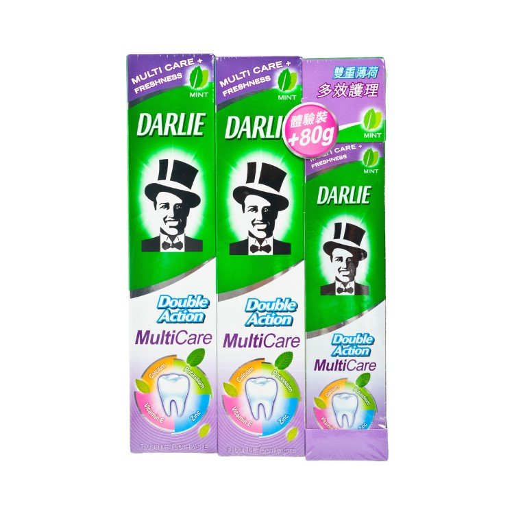 DARLIE - DOUBLE ACTION MULTI CARE TOOTHPASTE PACKAGE - 180GX2 +80G