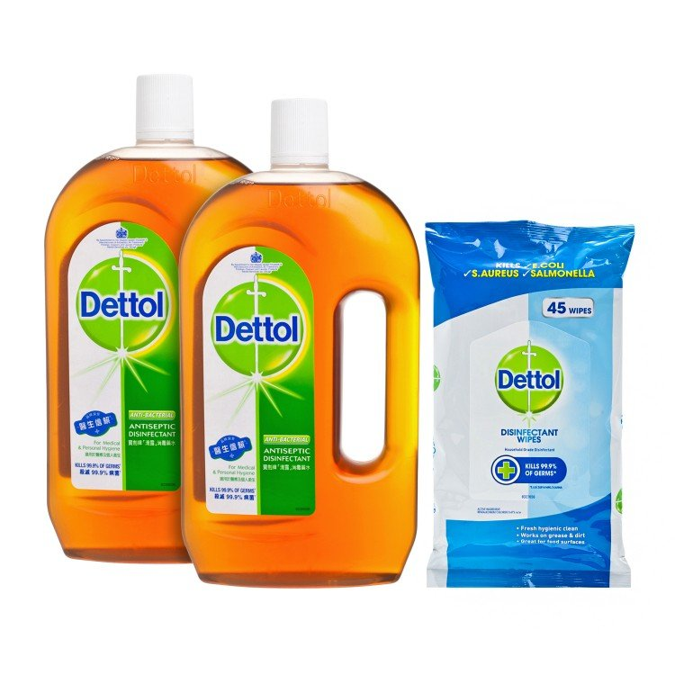 DETTOL - ANTISEPTIC LIQUID TWIN PACK & WIPES - 1.2LX2