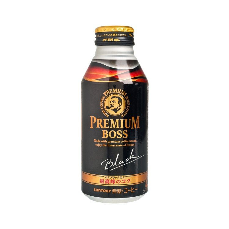 SUNTORY - PREMIUM BOSS SUGAR-FREE BLACK COFFEE - 390ML