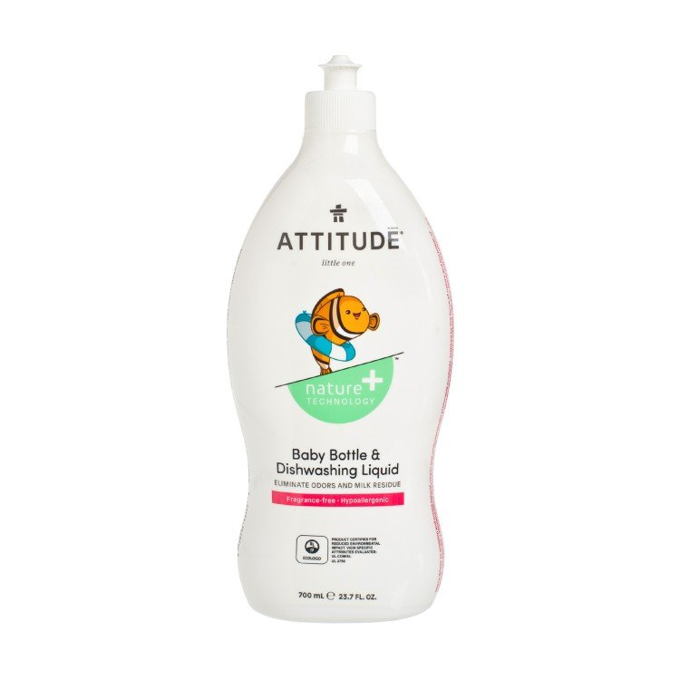 ATTITUDE - LITTLE ONES BABY BOTTLE & DISHWASING LIQUID FRAGRANCE-FREE - 700ML