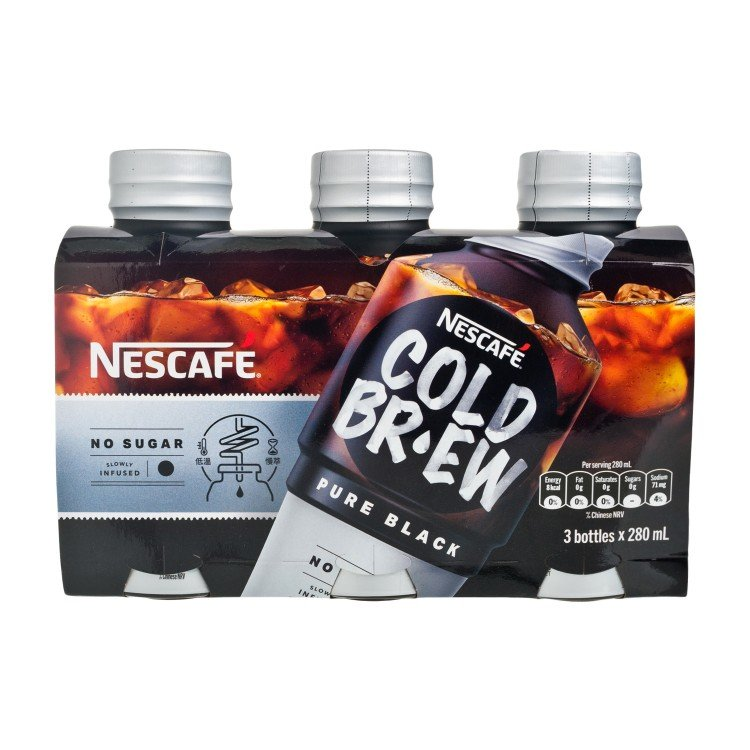 NESCAFE - COLD BREW COFFEE BEVERAGE-PURE BLACK - 280MLX3
