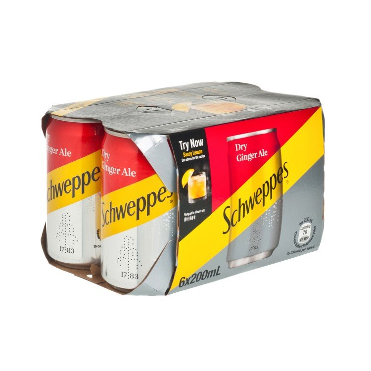 SCHWEPPES - DRY GINGER ALE MINI CAN - 200MLX6