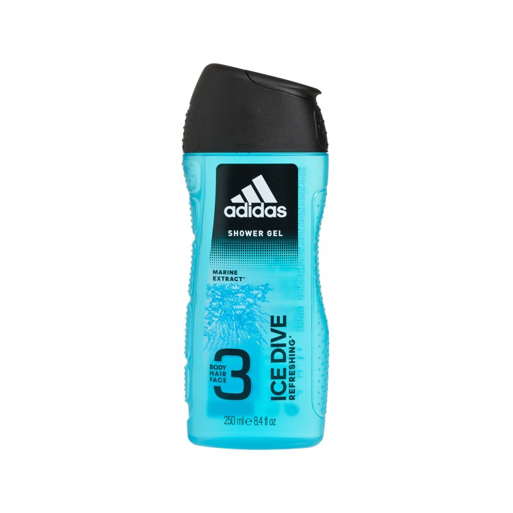 ADIDAS(PARALLEL IMPORT) - ICE DIVE 3IN1 BODY, HAIR AND FACE SHOWER GEL - 250ML