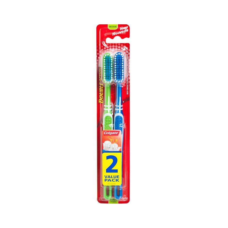 COLGATE(PARALLEL IMPORT) - DOUBLE ACTION TOOTHBRUSH- MEDIUM - 2'S