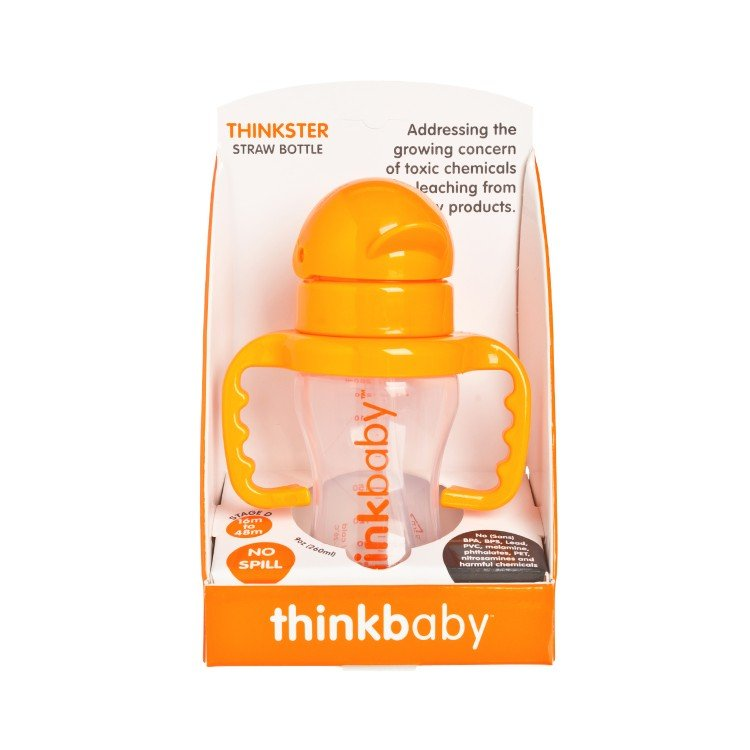 THINKBABY - THE THINKSTER STRAW BOTTLE-ORAGNE - 255G
