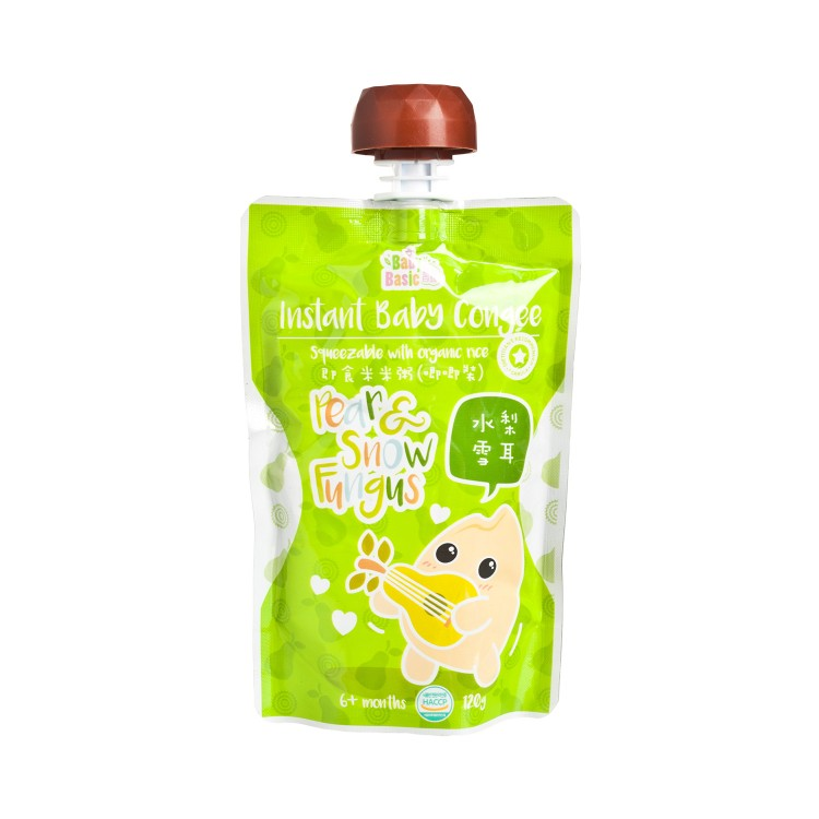 BABY BASIC - BABY CONGEE-SQUEEZE POUCH - PEAR & SNOW FUNGUS - 120G