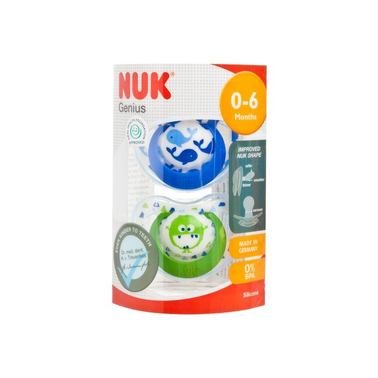 NUK - SIL GENIUS SOOTHER S1 W/ COVER - 2'S