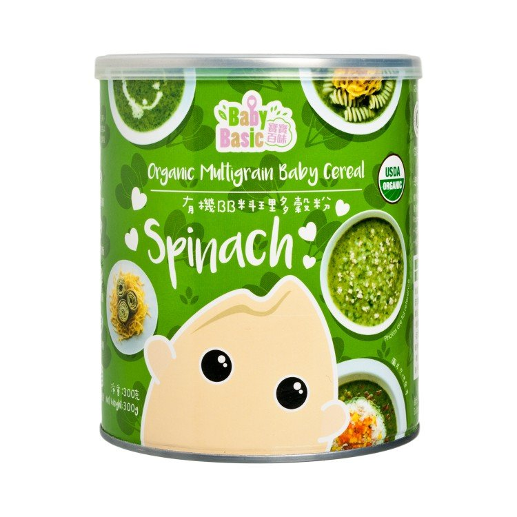 BABY BASIC - ORGANIC MULTIGRAIN BABY CEREAL - SPINACH - 300G