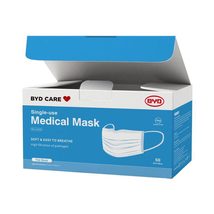 BYD - SINGLE-USE MEDICAL MASK-BFE, PFE, VFE 99%  - 50'S