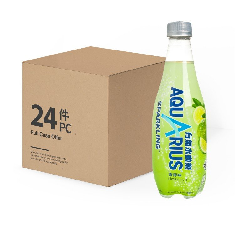 AQUARIUS - WATER AND ELECTROLYTES REPLENISH DRINK-SPARKLING LIME -CASE - 410MLX24