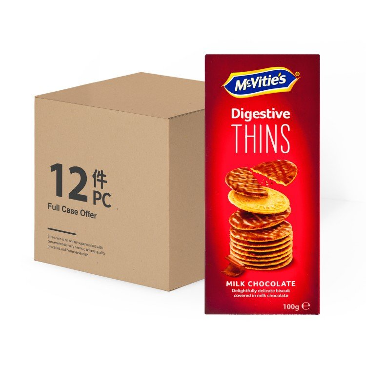 MCVITIE'S - CASE OFFER-THINS MILK CHOCOLATE - 100GX12