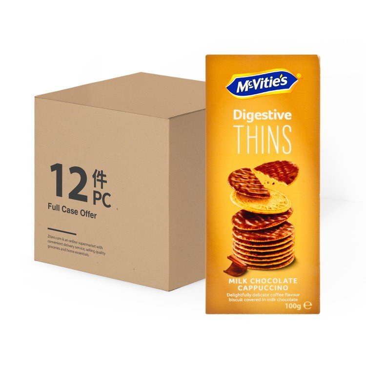 MCVITIE'S - CASE OFFER-THINS MILK CHOCOLATE CAPPUCCINO - 100GX12