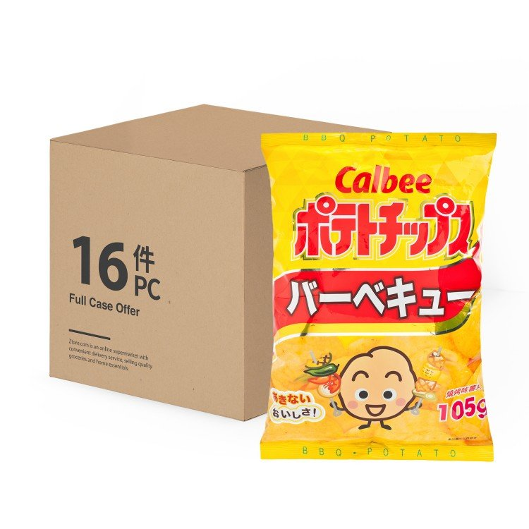 CALBEE - POTATO CHIPS-BBQ FLAVOUR-CASE - 105GX16