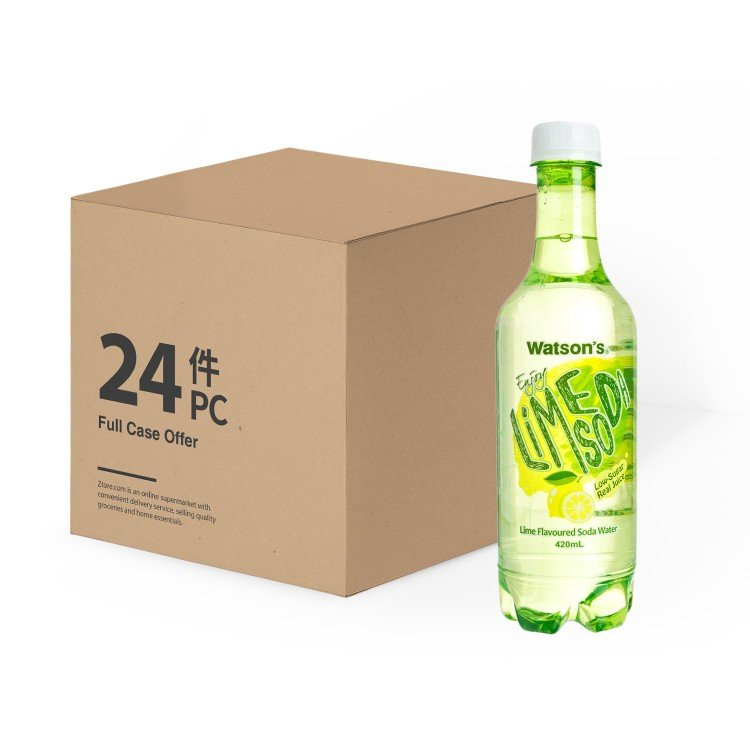 WATSONS - SODA WATER-LIME FLAVOURED-CASE - 420MLX24