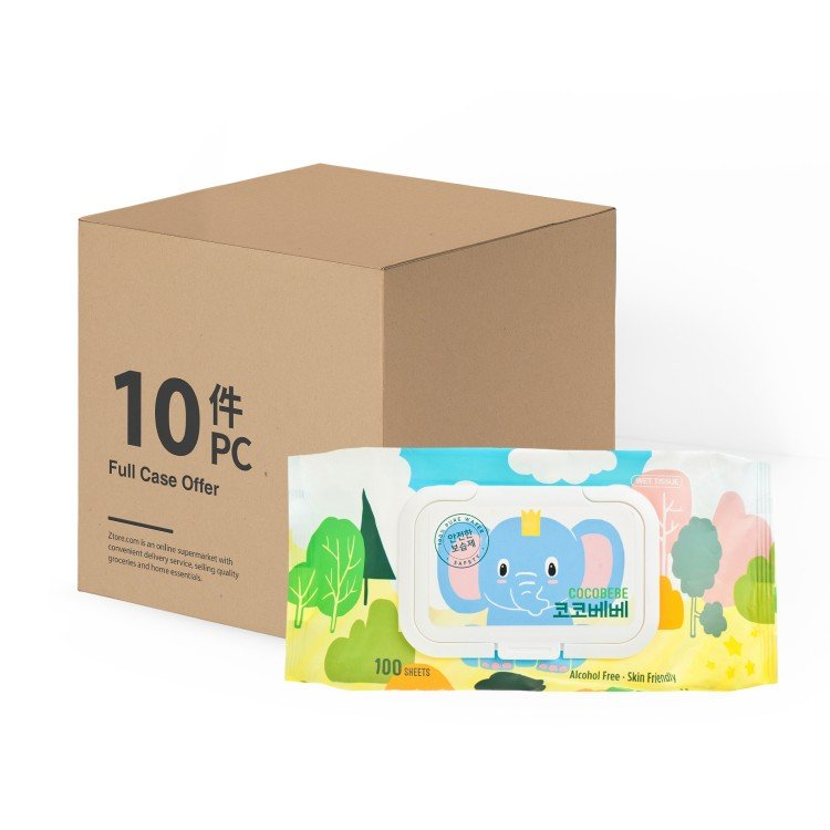 COCOBEBE - ELEPHANT BABY WET WIPES WITH CAP - CASE OFFER - 100'SX10